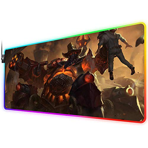 RGB Gaming Mouse Pad for League of Legends,LED Soft Extra Extended Large Mouse Pad,Anti-Slip Rubber Base,Computer Keyboard Mouse Mat 31.5 X 12 Inch(high noon urgot)