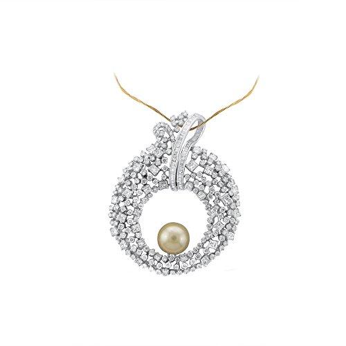 Libertini pendentif argent 925 femme serti de Diamant et Perle