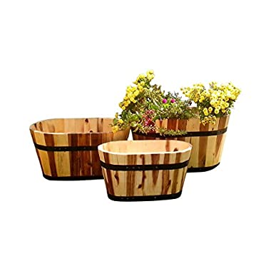 Happy Planter HPCH301 3 Piece Wood Barrel Outdoor Planter Set