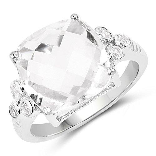 (5.63 Carat Genuine Crystal Quartz & White Topaz .925 Sterling Silver Ring)