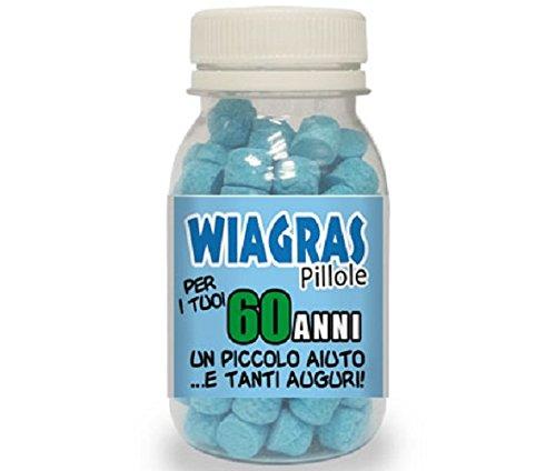 WIAGRAS Pillole per 60 ANNI - Articolo Scherzoso Idea Regalo per Festa Compleanno DOR import S.r.l.