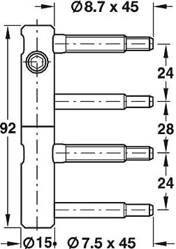 3 St/ück GedoTec 3-DIM Bisagra 2 piezas de perforaci/ón puerta regulable para interior Estores /ø 15 mm Bolzen 45 Bandhoehe 92 Galvanizado con acero Modelo 11R 15-000 Calidad marca su Sala estar