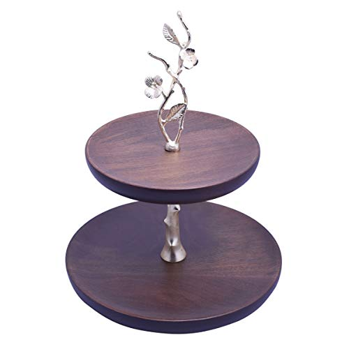 Decozen The Milli Collection Acacia Wood 2 Tier Cake Stand Gold Finished Brass Branch Pedestal Perfect for Casual or Formal Events Rustic Finish Decorative Cake Stand 10.91 x 10.91 x 13.98 inches