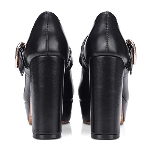 Zapatos Negro Ancho Mujer Cómodo Janes Coolcept Mary Tacón dqH8YxtHw0