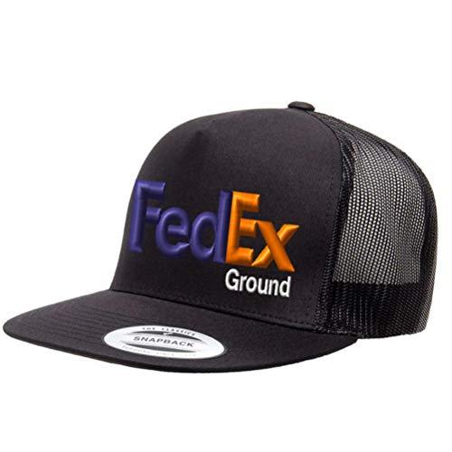 カスタム刺繍 FedEx Ground パープル オレンジ メッシュ トラッカー スナップバック ハット Yupoong ベースボールキャップ - オールブラック