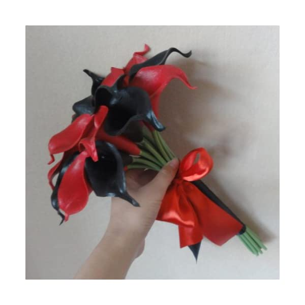 Lily-Garden-Mini-15-Artificial-Calla-Lily-16-Stem-Flower-Bouquets-with-Ribbon