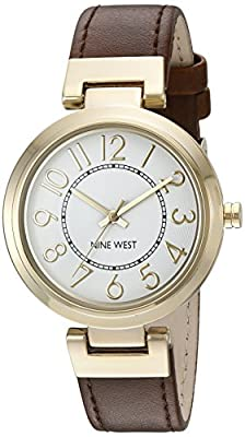 Nine West Women's NW/1908WTBN Easy to Read Gold-Tone and Brown Strap Watch