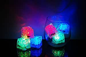 Set of 6 Litecubes Brand 8 Mode MultiColor RAINBOW Light up LED Ice Cubes