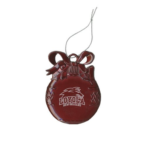 Loyola New Orleans Maroon Bulb Ornament 'Official Logo Engraved' by CollegeFanGear