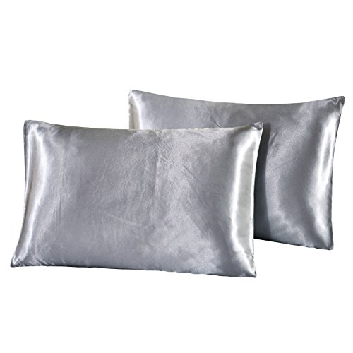 Satin Zippered (YOUSA Satin Silky Pillowcases Soft Silky Pillow Cover without Zipper (Grey,Standard/Queen))
