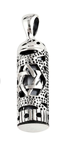 Sterling Silver Mezuzah Pendant with Star of - In Sterling Heights Mall