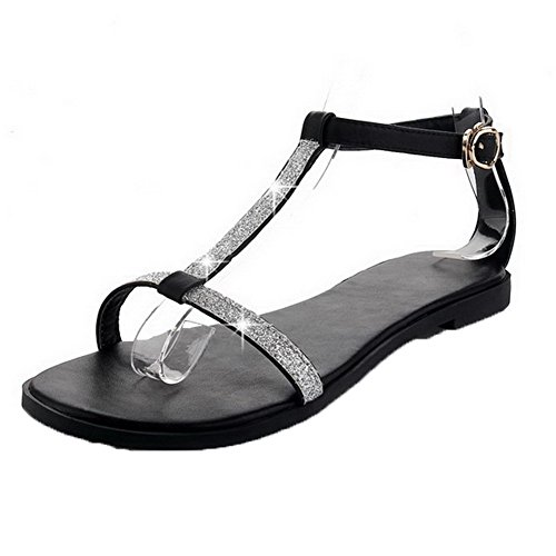 AalarDom Womens Buckle Open-Toe Low-Heels PU Solid Sandals Black-G3