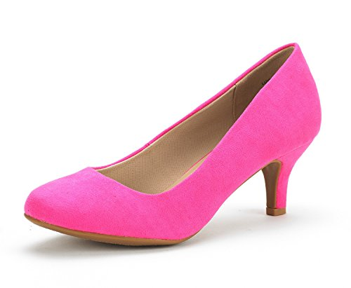DREAM PAIRS Women's Luvly Fuchsia Suede Bridal Wedding Low Heel Pump Shoes - 7.5 M US]()