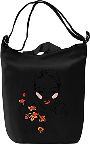 Girl With Flowers Borsa Giornaliera Canvas Canvas Day Bag  100% Premium Cotton Canvas  DTG Printing 