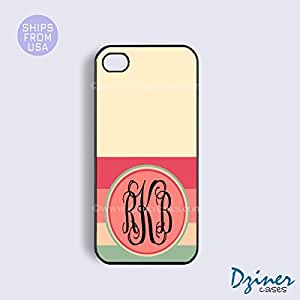 Monogrammed iPhone 5c Case - Cream Coral Cute Stripes iPhone Cover