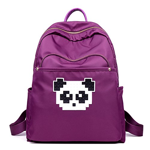 BYD Mujeres Nylon Impermeable Backpack Mochilas Escolares Mochila Escolar Casual Bolsa Viaje Moda Modelo lindo de la panda púrpura