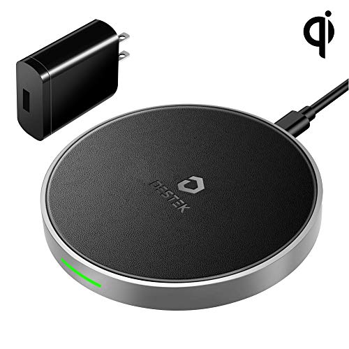 DESTEK iPhone X Fast Wireless Charger – Quick Wireless Charging Pad for iPhone & Samsung (7.5W for iPhone X 8 8plus, 10W for S9+ S8 Note8), 5W for Others Qi-Enabled Smartphones (with 18W Adapter) by DESTEK