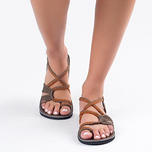 Flat Leaf Sandals Plaka Women for Gray Orange Palm RFdBq