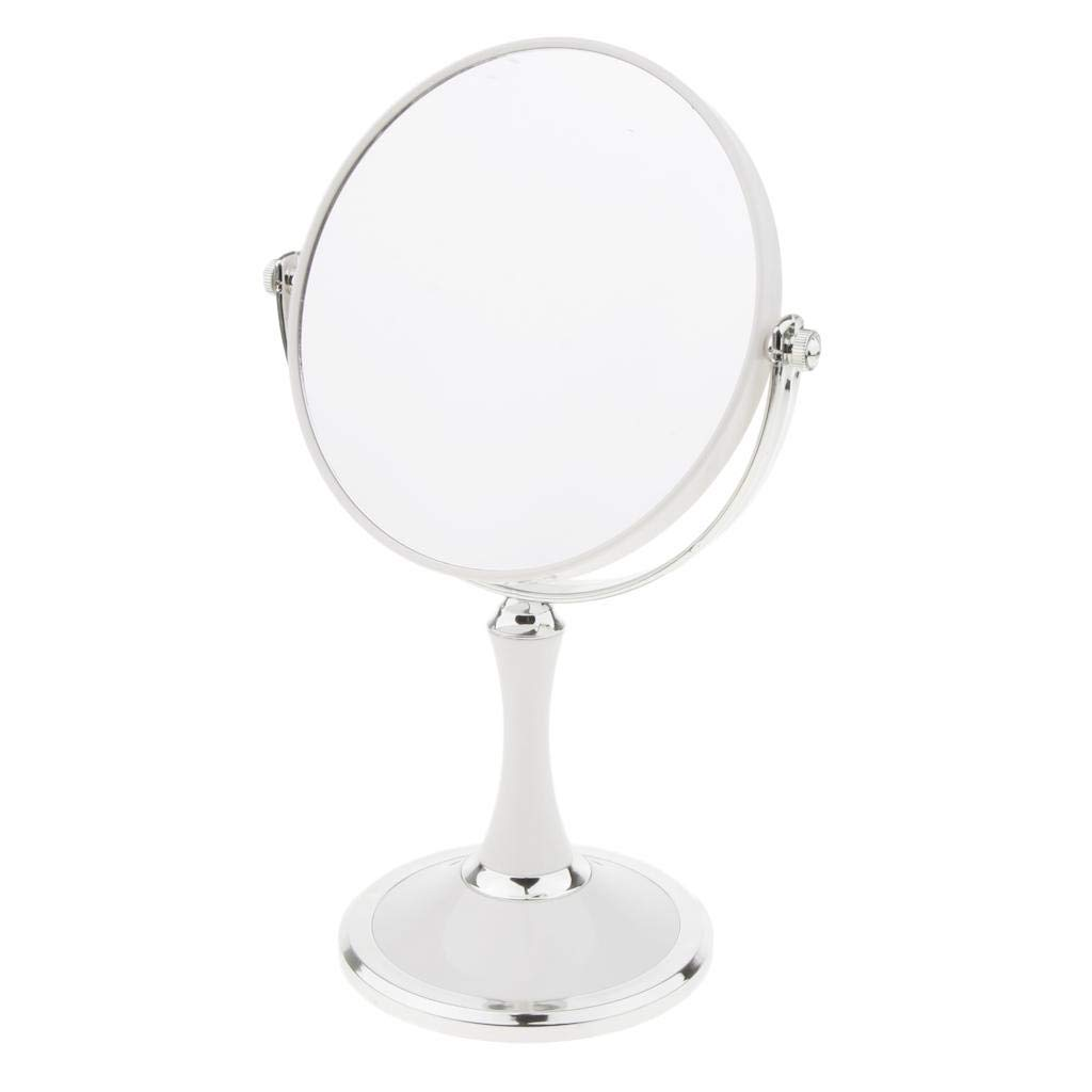MagiDeal Free Standing 6-inch Round Vanity Makeup Mirror Tabletop Two-Sided Swivel with 3x Magnification Bathroom Shaving Mirror 10-inch Height - White