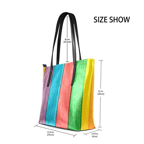 PU Shoulder Top Purses Leather Bags Fashion Handbag Handle TIZORAX Wooden Colorful Women's Totes qUZaZg