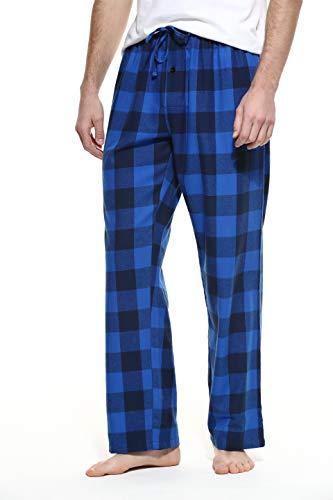 CYZ Men's 100% Cotton Super Soft Flannel Plaid Pajama Pants-BlueCheck-XL - Flannel Pajamas Pjs