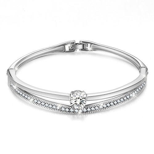 Menton Ezil Fashion Jewelry Silver Swarovski Crystals Bangle Bracelet for Women, Wife, Mom- White Gold Plated -Gift for her ()