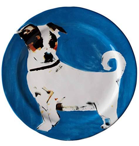 Sally Muir Anthropologie Dog-a-Day Stoneware Dessert Plate - Jack Russel Terrier Blue