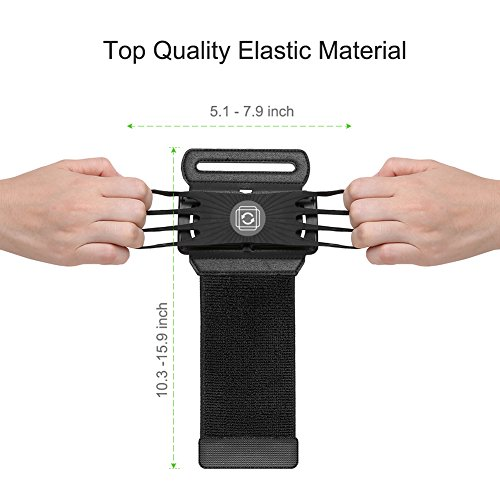 VUP Wristband Phone Holder for iPhone X iPhone 8 8Plus 7 7 Plus 6S 6 5S Samsung Galaxy S8 Plus S7 Edge, Google Pixel, 180° Rotatable, Great for Hiking Biking Walking Running Armband(Black) by VUP (Image #2)