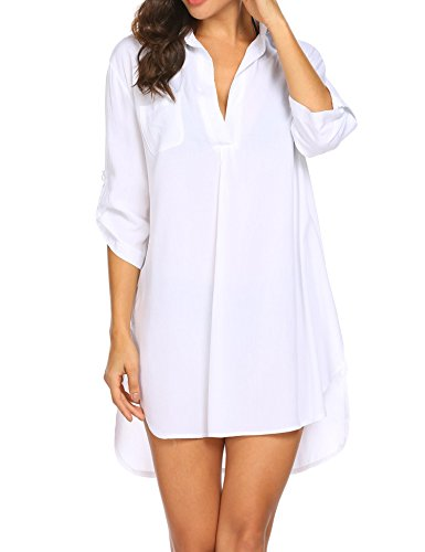 Style Dress Suit - Vansop Sexy Half Sleeve Loose Fit Classic Letters Print Bikini Shirt Dress/Swimsuit Cover up(White L)