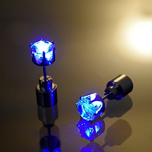 [AYAMAYA 1 Pair Light Up LED Earrings Studs Glowing Flashing Stainless Steel Earrings Studs Dance Party Accessories unisex for Men] (Halloween Accessories)