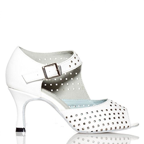 Crc Ycl021 Femmes À La Mode Boucle Respirant Maille En Cuir Salle De Bal Moderne Latine Morden Chaussures De Danse Blanc