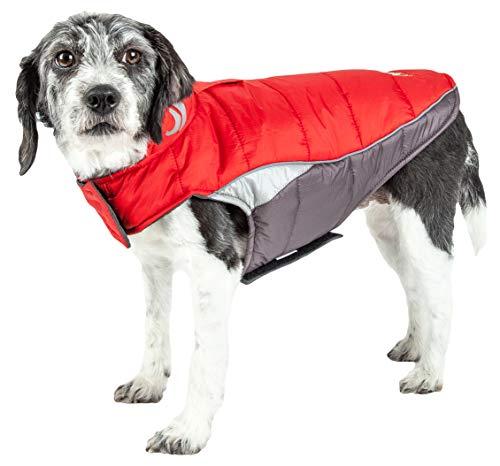 DOGHELIOS 'Hurricane-Waded' Plush Adjustable 3M Reflective Insulated Winter Pet Dog Coat Jacket w/ Blackshark technology, Medium, Molten Lava Red
