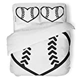 SanChic Duvet Cover Set Baseball Softball Ball Heart Base Equipment Female Game Decorative Bedding Set with 2 Pillow Shams Full/Queen Size