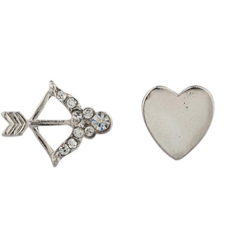 Lux Accessories Bow & Arrow Pave Crystal Heart Stud Earrings.