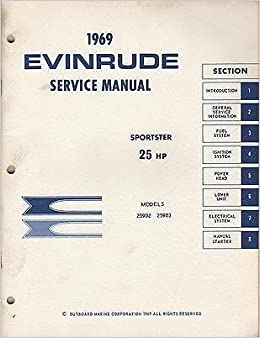 25 Hp Evinrude For Sale >> 1969 Evinrude Outboard Motor Sportster 25 Hp Service Manual
