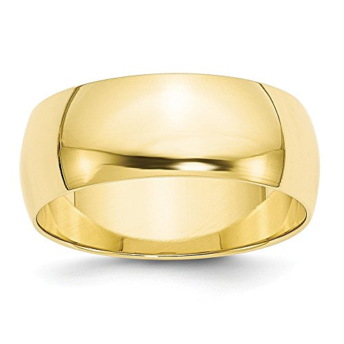Solid 10k Yellow Gold 8mm Half Round Wedding Band Size 5.5 ()
