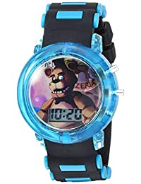 Five Nights at Freddy's FNF4046AZ - Reloj de cuarzo para niño con correa de plástico, color negro