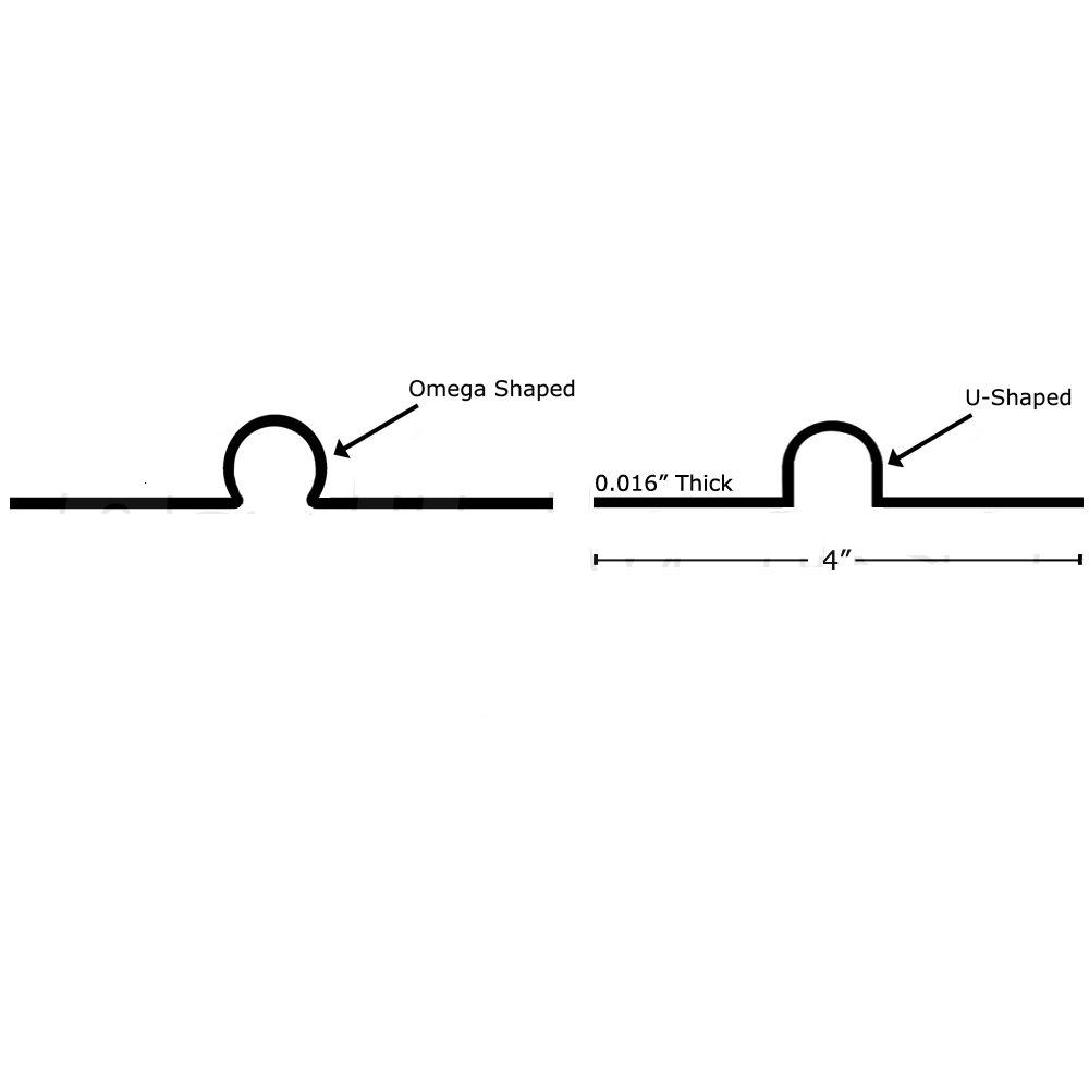 2ft long x 4'' wide, 1/2'' PEX Aluminum Heat Transfer Plates (200/box), U-Shaped, Imported by Heat Transfer Plates