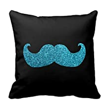 Blue Bling Mustache ?(Faux Glitter Graphic) Throw Pillow Cover