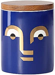 Ceramic Food Storage Jar with Bamboo Lid Kitchen Canister Food Storage Canisters or Dry Goods,Powder, Tea, Coffee (Blue)