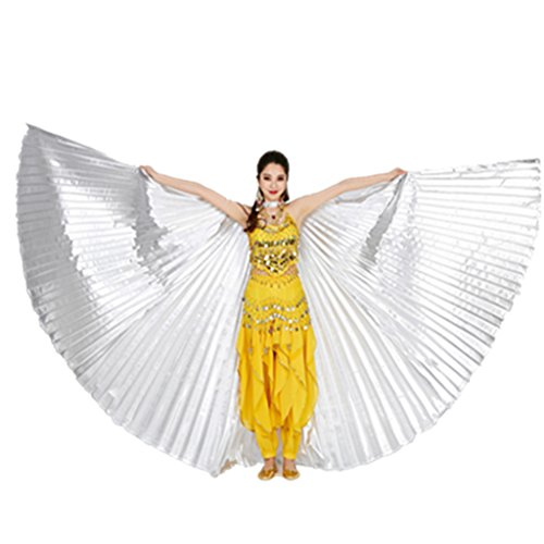 MUNAFIE Belly Dance Isis Wings with Sticks for Adult Belly Dance Costume Angel Wings for Halloween Carnival Performance Silver