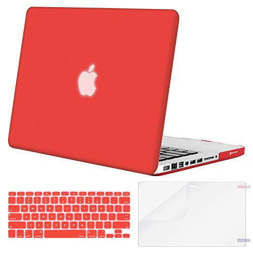 MOSISO Plastic Hard Shell Case & Keyboard Cover & Screen Protector Only Compatible Old MacBook Pro 13 Inch (A1278 CD-ROM), Release Early 2012/2011/2010/2009/2008, Red