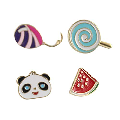 Brooch Stylish Pin (TENDYCOCO 4pcs Creative Cute Brooch Pins Stylish Adorable Lollipop Watermelon Panda Balloon Brooch Lapel Pin for Woman Girl)