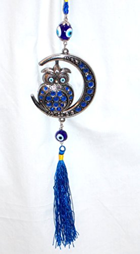 15  Glass Blue Evil Lucky Eye Silver Owl In Crescent Moon Amulet Hanging Charm