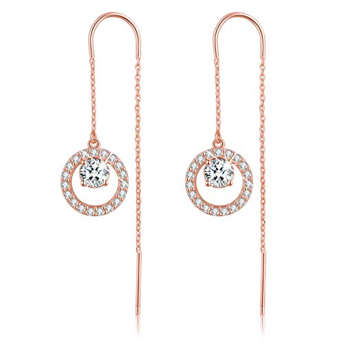Esberry✦Gifts for Mother's Day with Gift Wrap✦18K Gold Plating 925 Sterling Silver Cubic Zirconia Drop Earrings Hollow Love Heart/Circle CZ Dangle Earrings for Women and Girls (Rose Gold-Circle)