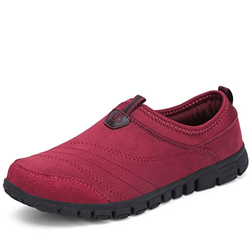 Scurtain Womens Wide Slip-On Suede Outdoor Non-Slip Sneakers Casual Elderly Walking Shoes Red PRWIrkewJH