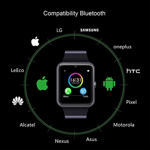 FHDCAM Smart Watch Compatible for iPhone 5s/6/6s/7/7s and Android 4.3 Above, Anti Lost and Pedometer Fitness Tracker (Partial Functions) - Black