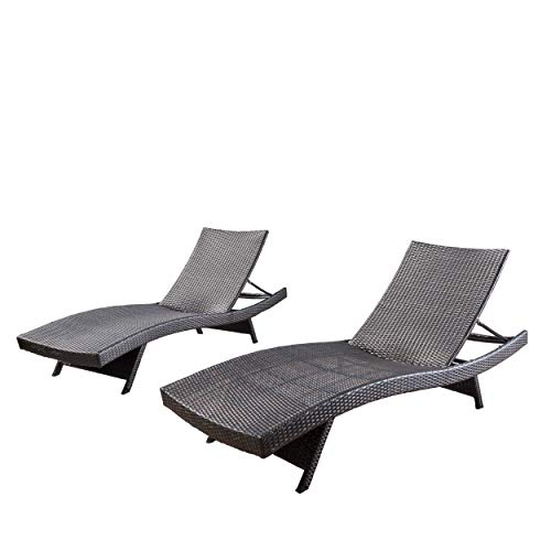 Christopher Knight Home 294919 Lakeport Outdoor Adjustable Chaise Lounge Chair (Set of 2) (Lounge Chairs Outdoor Brown)