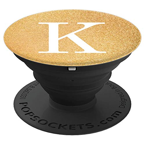 White Initial Letter K Sparkle Deluxe Gold Color Background - PopSockets Grip and Stand for Phones and ()