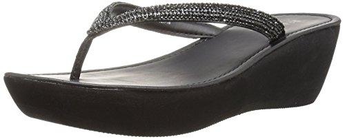 Kenneth Cole REACTION Women's Fine Sun Gltizy Platform Thong Sandal Wedge, Black, 6.5 M - Thong Wedge Black